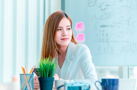 Asian Women working in modern office, coffee break