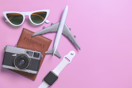 vacation travel technolofy gadgets and objects for travel concept