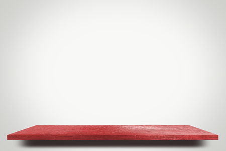 red wooden on white product display shelf table top copy space background Stock Photo
