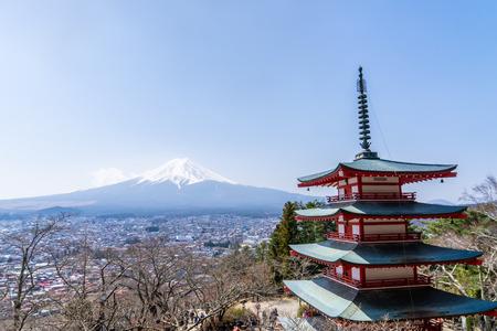 Chureito Pagoda shrine with winter Fuji mount in Background