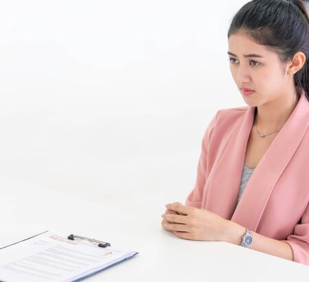 Sad Woman got rejected by female her officer in job interview