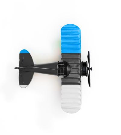 National Flag of Estonia travel Metal toy plane isolated on white Stock Photo