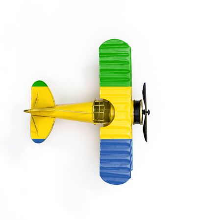 National Flag of Gabon travel Metal toy plane isolated on white