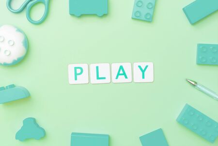Play concept with toy and objects for child education concept on teal background Imagens - 124600693