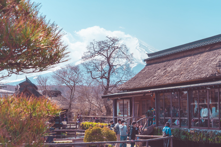 Tokyo; Japan - March 28; 2019: Tourists are viewing beautiful Mount Fuji in Oshino Hakkai Village. Redakční
