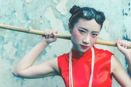 Fashion Gangster Chinese housemate cleaner is ready to do cleaning job