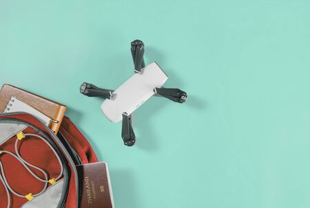 Backpacker drone travel gadgets in Backpack with travel accessories