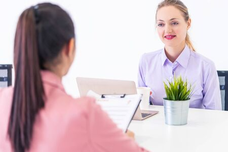 Happy confidence woman is optimistic while taking her job interview