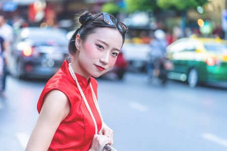 Chinese woman is traveling in Bangkok China town, Thailand 版權商用圖片