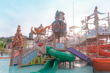 Pattaya, Thailand - 7 May 2019 : Water Splashing from Ramayana Water Park in Pattaya, Thailand.