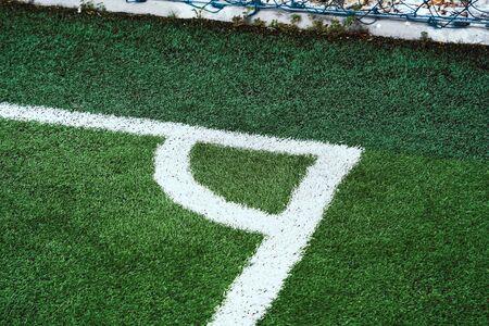 Soccer Football field white corner line for background