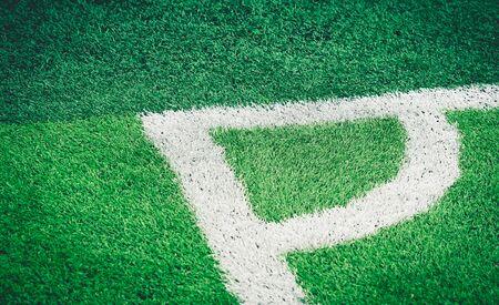 Soccer Football field white corner line for background Stockfoto - 128824383