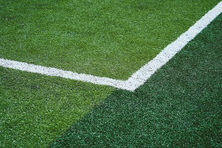 Soccer Football field sqaure white line on green meadow pitch for soccer background and backdrop graphic design use Stok Fotoğraf