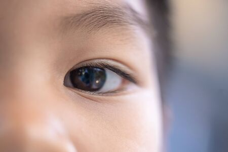 Closed up shot of a boy eye for vision health and children medical concept concept Stok Fotoğraf