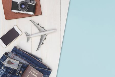 Travel objects flatlay on white wooden with blue copy space for tourism and Vacation concept Stok Fotoğraf