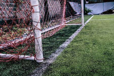 Rustic soccer goal in a training football field