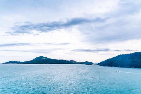 Serene clam ocean sky of Toba islands group in Kansai japan