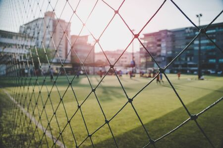Soccer Football field in a high school for sport education and school sport activity concept