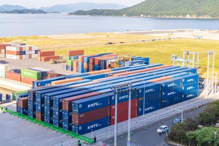 Takamatsu; Japan - 25 Sep 2019 : Freights and cargo stacked up ready to be transport from Japan to the world.