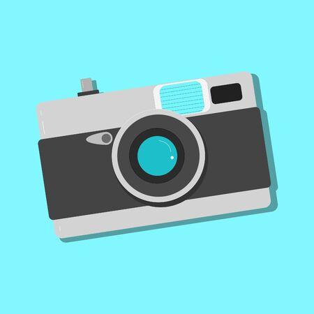 Vintage Metal film camera Flat design on Blue Background