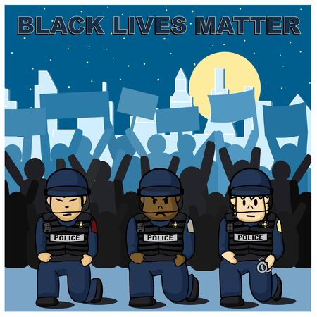 Police is kneeling with Protestors in the background for Black Lives Matter Rally in America Cities concept. Çizim