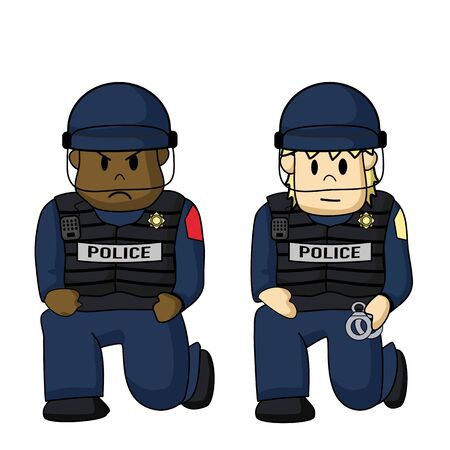 Police kneeling down for peace and respect to George floyd Rally in the USA. Illustration