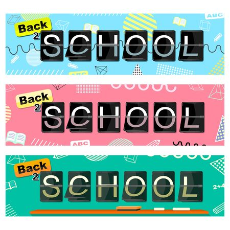 Back to School Three Color set Banners Vector with flipping alphabet