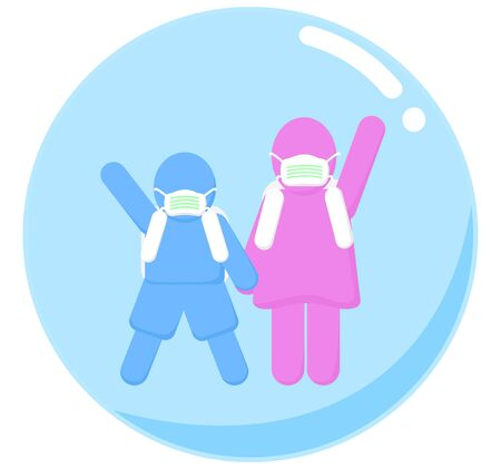 Girl and Boy students is protected from virus by wearing a mask in a bubble.