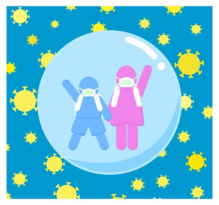 Girl and Boy school students is protected from virus by wearing a mask in a bubble. Ilustracja