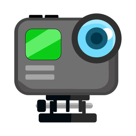Black Modern Action Camera for Sport Video Camera Vector isolated on white.