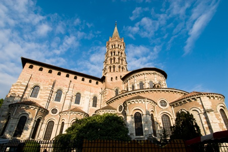french way: The basilica of Saint Sernin is a church (roman style) in Toulouse, south France. Stock Photo