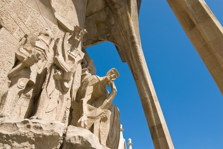 modernisme: Passion facade (part) of Sagrada Familia(Gaudis famous and uncompleted church) in Barcelona,Spain. Editorial