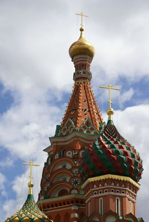 eclecticism: Moscow. Domes and Cupolas of Saint Basils Cathedral on Red Square Stock Photo