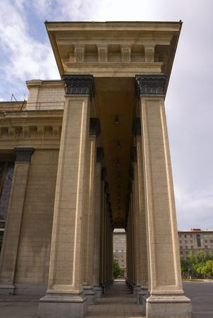 novosibirsk: High pillars of building in constructivism architecture style in row. Opera theatre in Novosibirsk, Russia, Built in 1931-1945