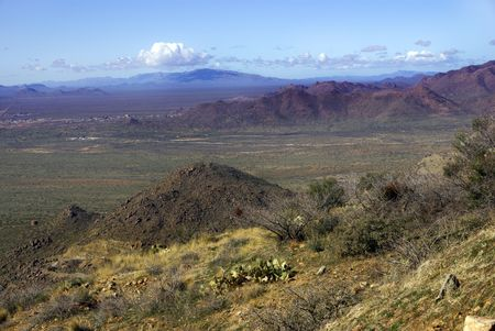 apparent: View of Vulture mountains chain and low desert from Weaver mountains vista point
