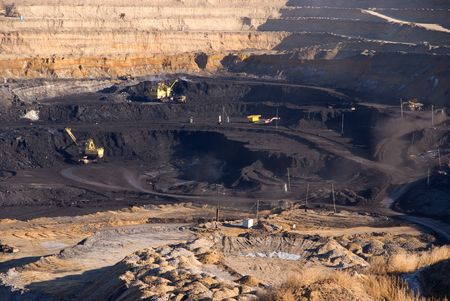 rock bottom: View of coal mine from vista point in Russia Stock Photo