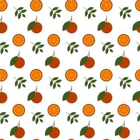 Seamless vector pattern with  oranges and leaf motif on white background. Repeat pattern with citrus fruit perfect for wrapping paper, fabric, textile, packaging design and much more