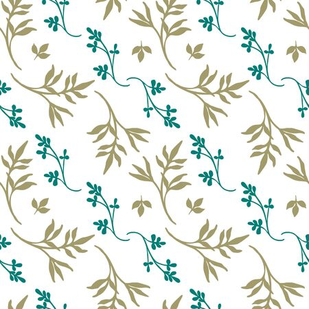 Vector greenery pattern on white background. Seamless pattern for textile wallpaper and more. Pillow pattern