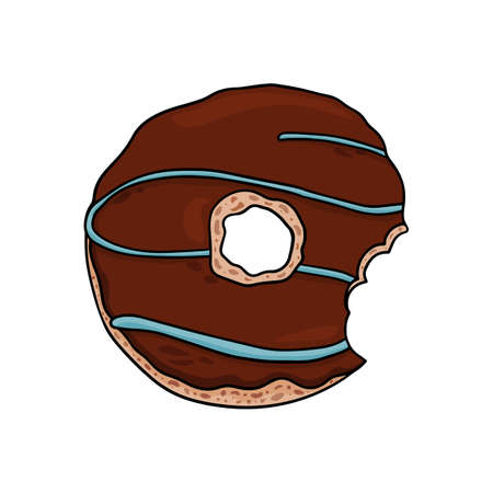 Delicious vector donut with chocolate frosting. Illustration of nibbled donut