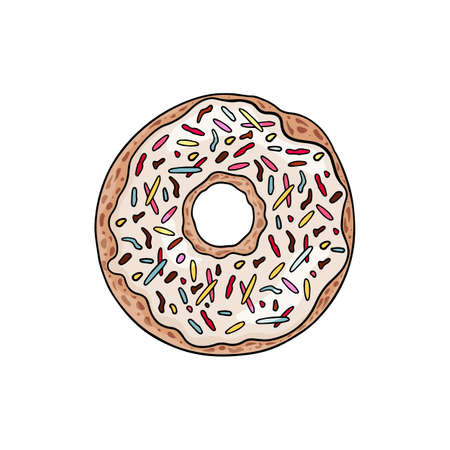 Delicious donut with white chocolate frosting and bright sprinkles. Vector illustration of donut in coloful cartoon style