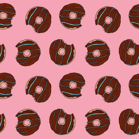 Chocolate donuts seamless repeat pattern. Sweets pattern for wrapping paper packaging and more on pink background