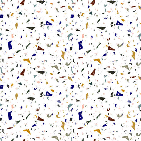 Trendy earth colors terrazzo seamless pattern. Floor texture. Vector terrazzo repeat pattern. Modern stone surface. Abstract art.
