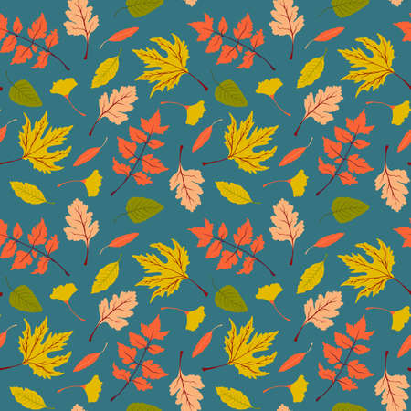 Seamless vector fall pattern with bright autumn leaves. Beautiful floral repeat pattern with colorful autumn leaves Ilustração