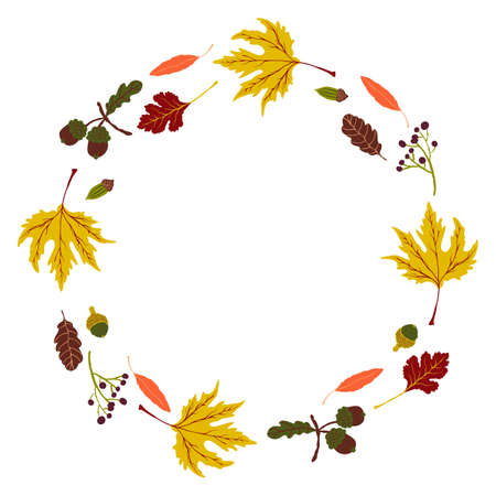 Vector wreath with autumn leaves. Fall theme vector stock illustration. Thanksgiving day greeting card or invitation. Easy to edit Ilustracje wektorowe