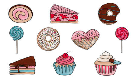 Big set of vector stock illustration of sweets. Collection of vector muffins cake lollipop and donuts. Design elements of treats for birthday
