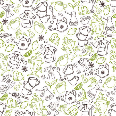 Vector green and brown doodle tea and coffee seamless pattern for coffee shop or bakery