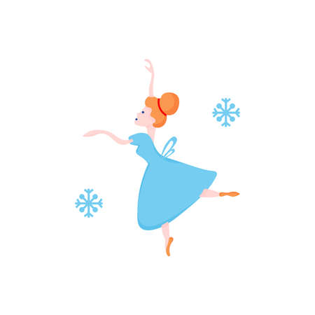 Vector Christmas illustration of ballerina in blue dress and snowflakes around her.