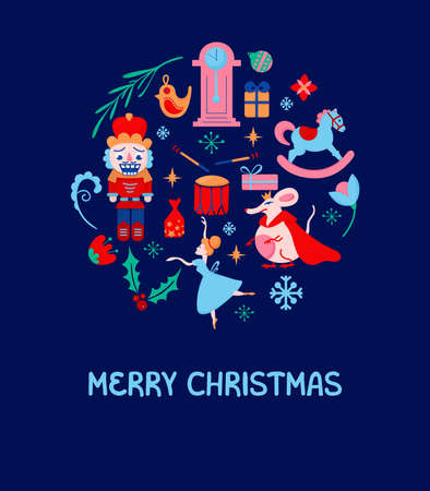 Vector Nutcracker Christmas card. Set of vector elements of Nutcracker story perfect for Christmas invitation gift poster or card  イラスト・ベクター素材