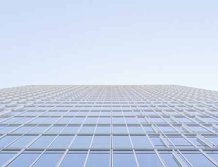 A view from the ground up to a skyscraper merging into the sky, simple graphic background