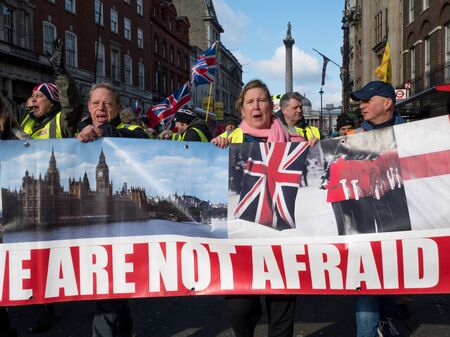 A political demonstration, march for Brexit and to leave the EU, in London, the United Kingdom